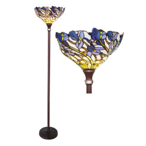 "CHLOE Lighting 1 Light Tiffany-style Iris Torchiere Floor Lamp 17"" Shade"