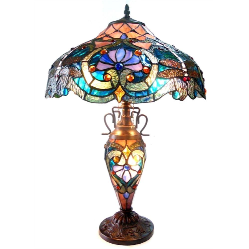 "CHLOE Lighting LYDIA Tiffany-style 3 Light Victorian Double Lit Table Lamp 17"" Shade"