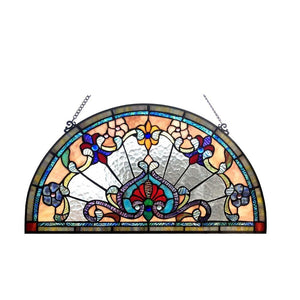 "CHLOE Lighting EMERSYN Victorian Tiffany-glass Window Panel 24"" Wide"