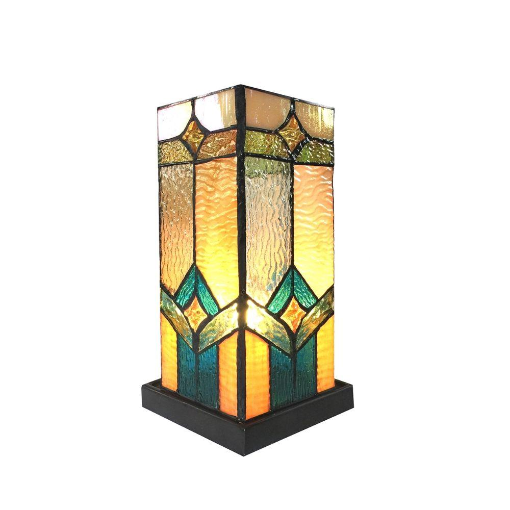 "CHLOE Lighting GREGORY Tiffany-glass Accent Pedestal 1 Light Mission table lamp 11"" Tall"