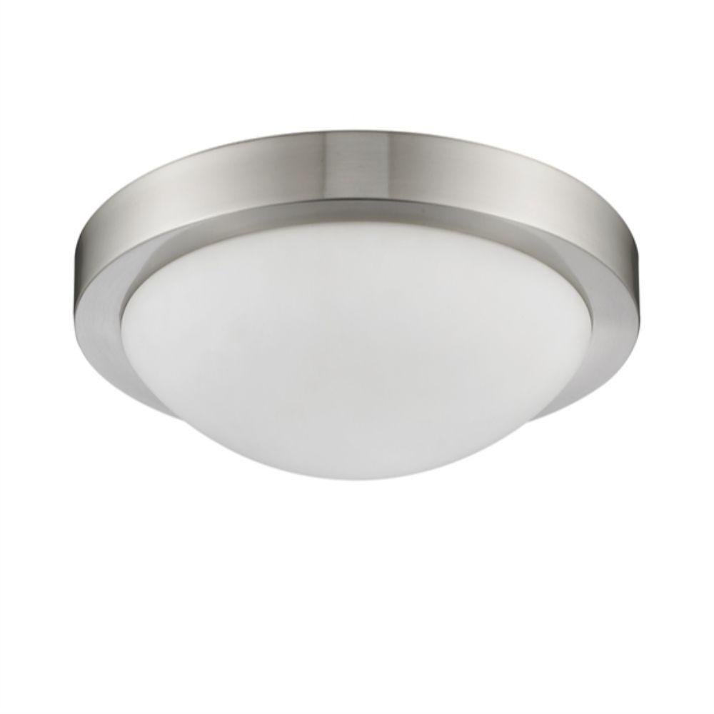 "CHLOE Lighting DOM Transitional 2 Light Bushed Nickel Flushmount Ceiling Fixture 13"" Wide"