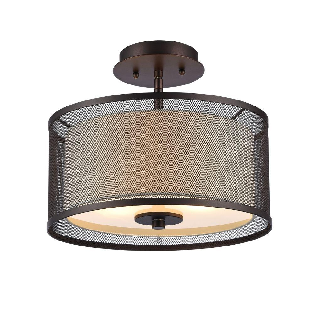 "CHLOE Lighting AUDREY Transitional 2 Light Rubbed Bronze Semi-flush Ceiling Fixture 13"" Wide"
