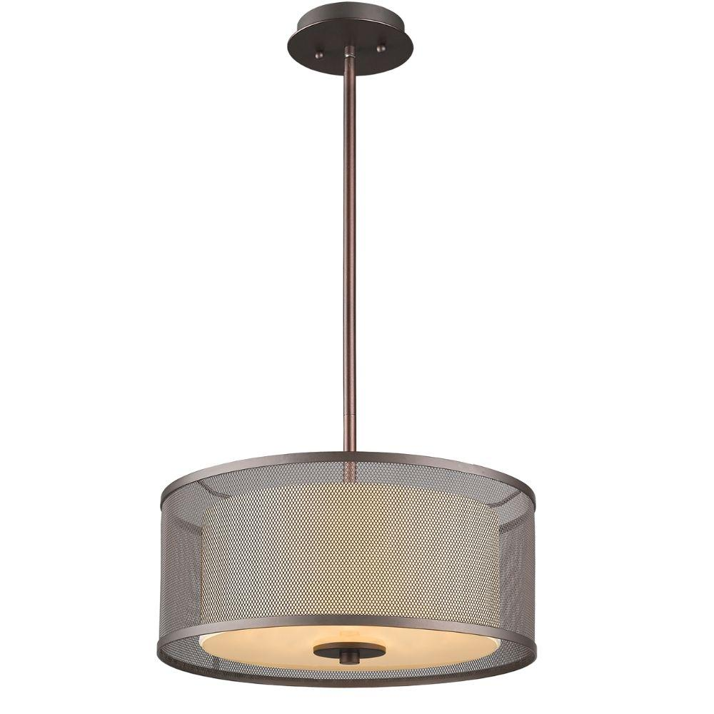 "CHLOE Lighting AUDREY Transitional 3 Light Rubbed Bronze Ceiling Pendant 15"" Wide"