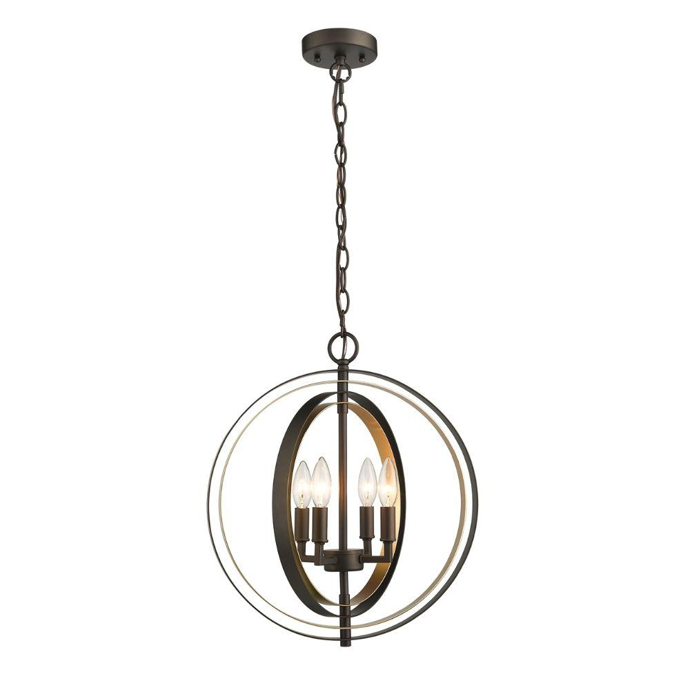 "CHLOE Lighting DARBY Industrial 4 Light Rubbed Bronze & Gold Ceiling Pendant 16"" Wide"
