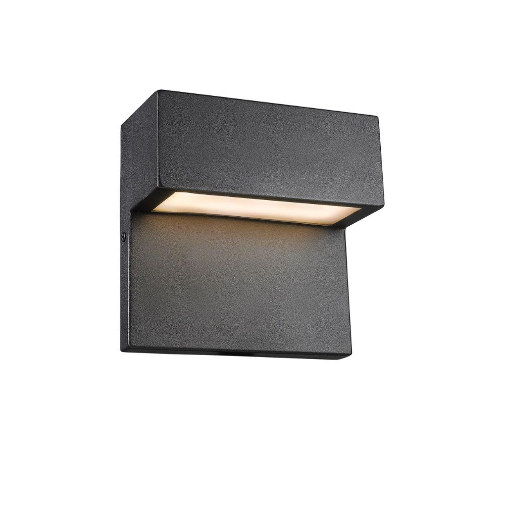 "CHLOE Lighting CAMPBELL Contemporary LED Light  Textured Black Outdoor Wall Sconce 6"" Tall"
