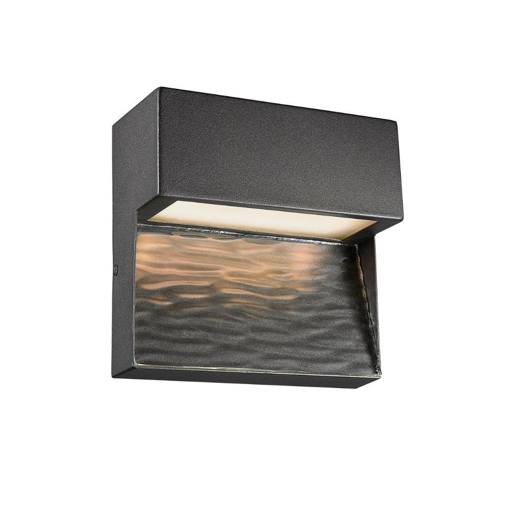 "CHLOE Lighting COOPER Contemporary LED Light  Textured Black Outdoor Wall Sconce 6"" Tall"