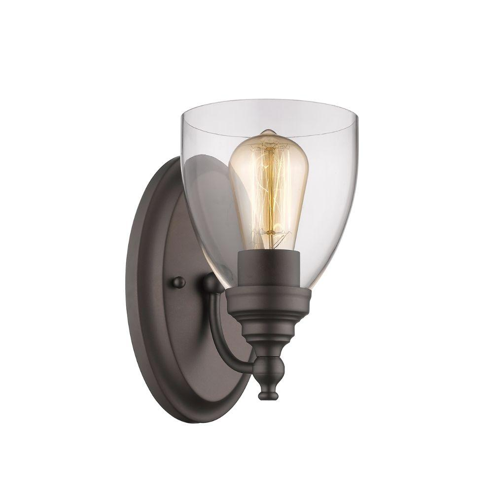 "CHLOE Lighting ELISSA Transitional 1 Light Rubbed Bronze Indoor Wall Sconce 6"" Wide"
