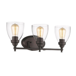 "CHLOE Lighting ELISSA Transitional 3 Light Rubbed Bronze Bath Vanity Light Clear Glass 23"" Wide"