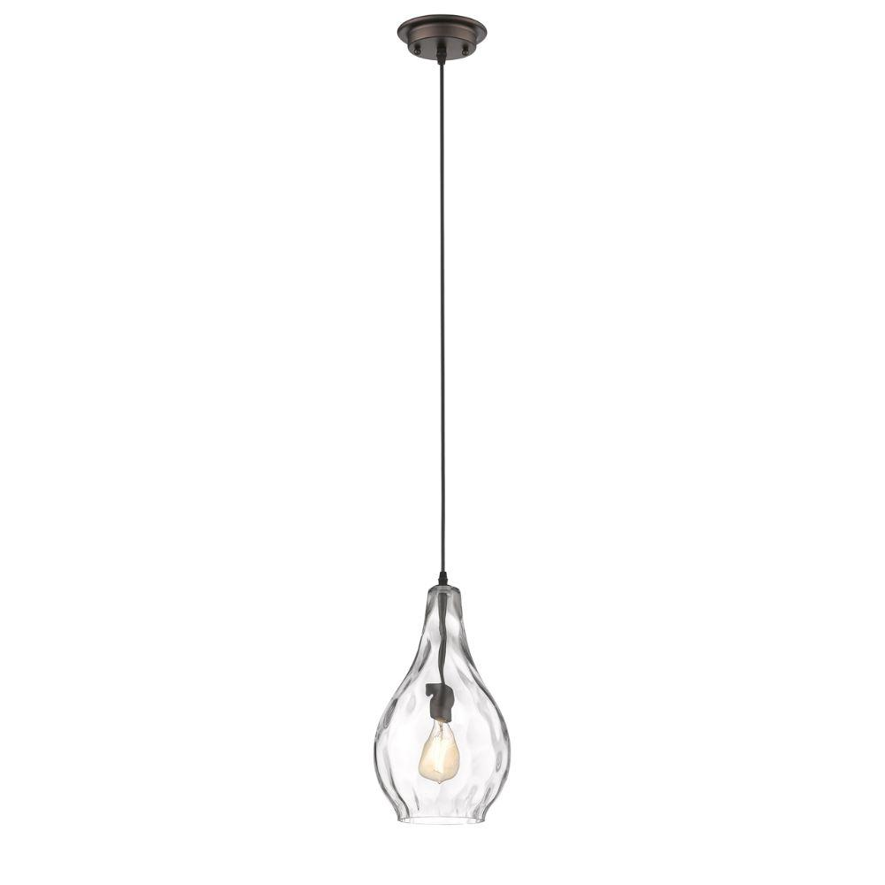 "CHLOE Lighting BROOKLYNN Transitional 1 Light Rubbed Bronze Ceiling Mini Pendant 9"" Wide"