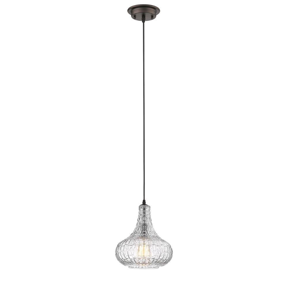 "CHLOE Lighting ARIA Transitional 1 Light Rubbed Bronze Ceiling Mini Pendant 10"" Wide"
