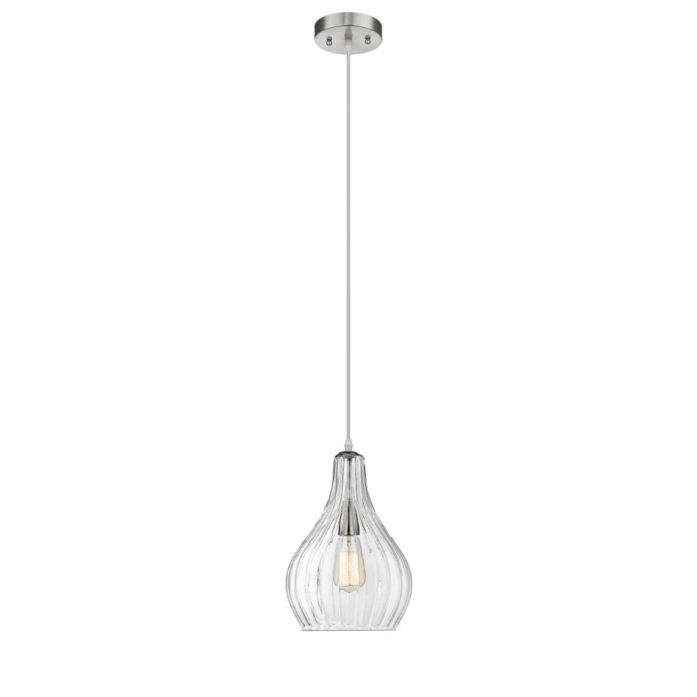 "CHLOE Lighting ARIEL Transitional 1 Light Brushed Nickel Mini Ceiling Pendant 9"" Wide"