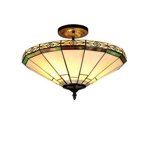 "CHLOE Lighting BELLE Tiffany-style 2 Light Mission Semi-flush Ceiling Fixture 16"" Shade"