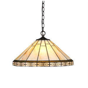 "CHLOE Lighting BELLE Tiffany-style 2 Light Mission Ceiling Pendent 18"" Shade"