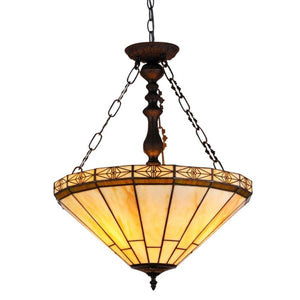 "CHLOE Lighting BELLE Tiffany-style 2 Light Mission Inverted Ceiling Pendant Fixture 18"" Shade"