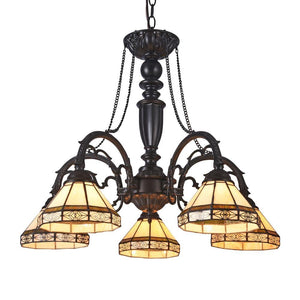 "CHLOE Lighting BELLE Tiffany-style 5 Light Mission Large Chandelier 27"" Wide"