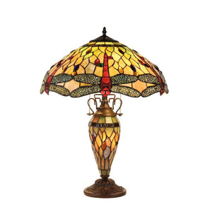 "CHLOE Lighting ANISOPTERA PURITY Tiffany-style Dragonfly 3 Light Double Lit Table Lamp 19"" Shade"