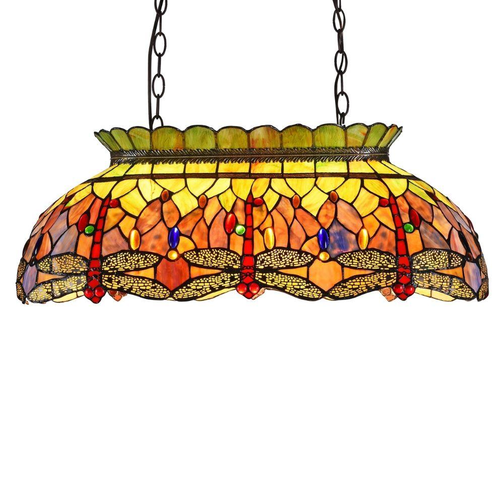 "CHLOE Lighting ANISOPTERA PURITY Tiffany-style Dragonfly 3 Light Island Pendant 28"" Wide"