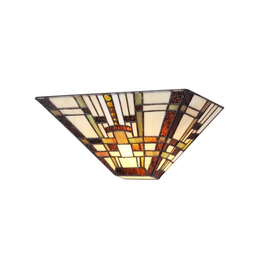 "CHLOE Lighting FARLEY Tiffany-style Mission 1 Light Wall Sconce 12"" Wide"