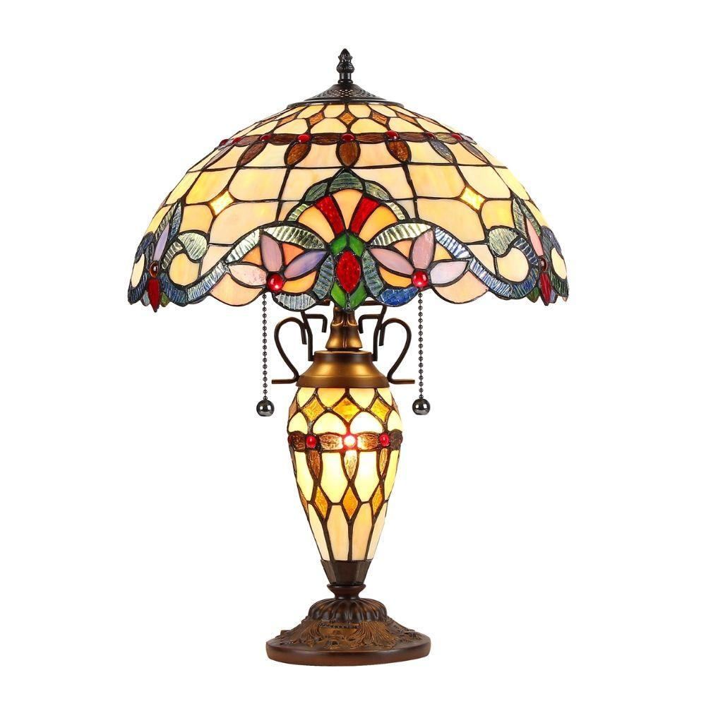 "CHLOE Lighting COOPER Tiffany-style 3 Light Victorian Double Lit Table Lamp 16"" Shade"