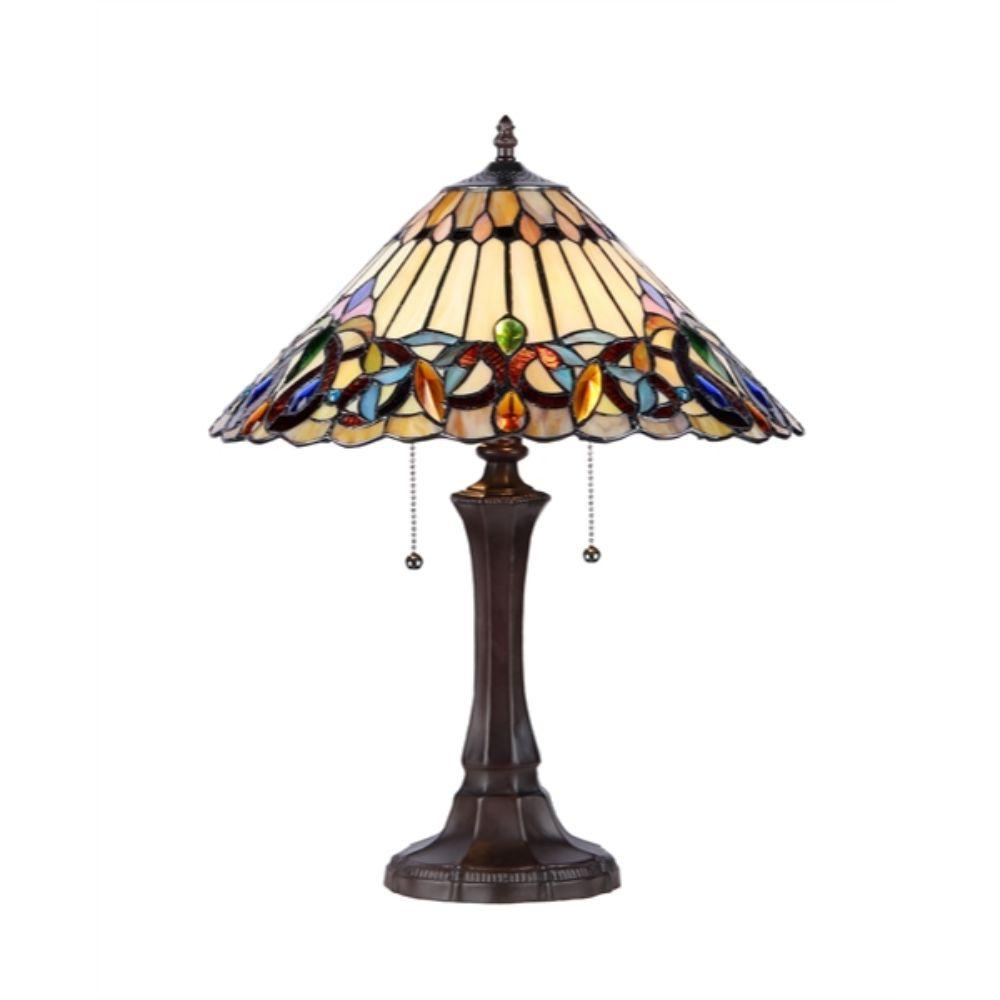 "CHLOE Lighting AMBROSE Tiffany-style 2 Light Victorian Table Lamp 16"" Shade"