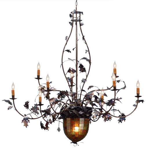 "63""W Greenbriar Oak 9 Arm Chandelier"