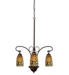 "24""W Tiffany Acorn 3 LT Chandelier"