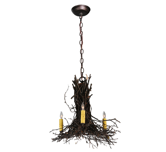 "20""W Twigs 3 Arm Chandelier"