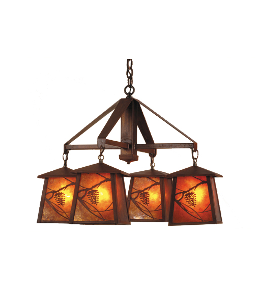 "28""W Whispering Pines 4 LT Chandelier"