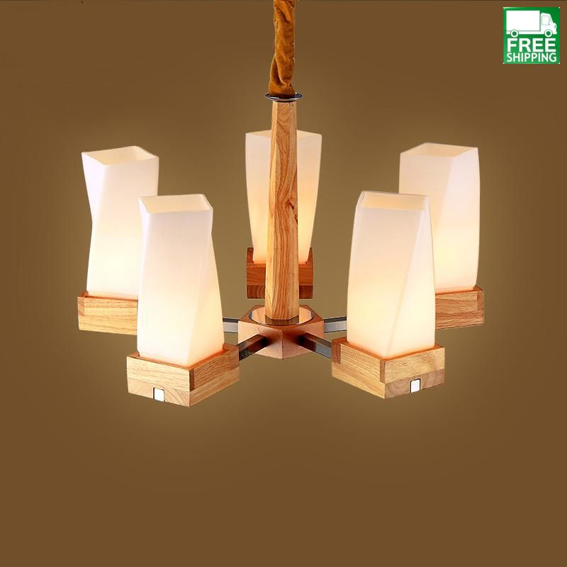 Art Deco Solid Wood Mixed Material Pendant Light