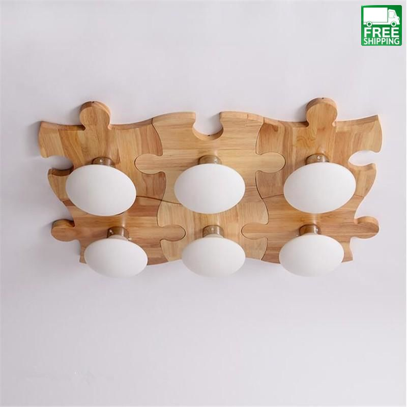Childrens Iron Finish Modern Wood Puzzle Shadeless Chandelier