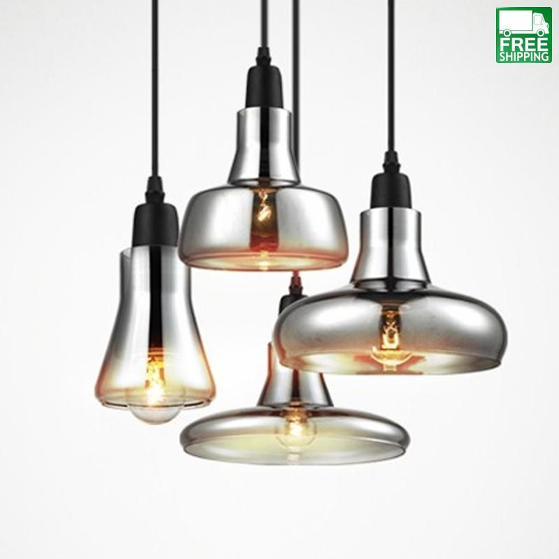 Chrome Finished Hanging Glass Disc Cord Pendant Lights