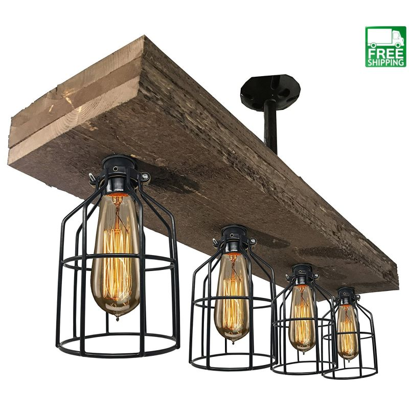 Wood Beam Cage Accented Chandelier
