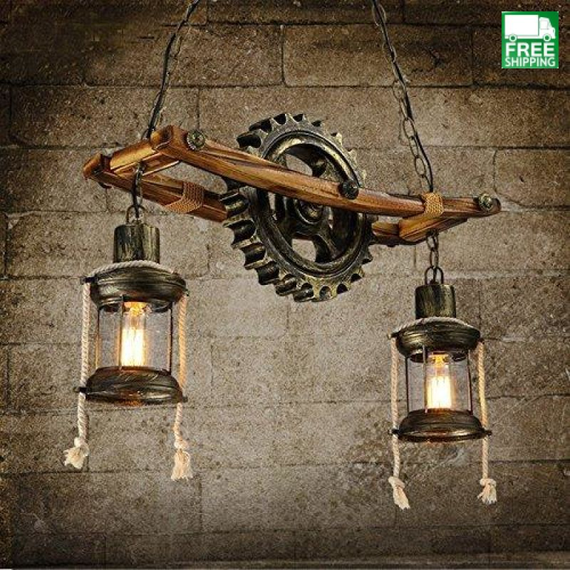 Faux Metal Cog Wood Base Chain Chandelier