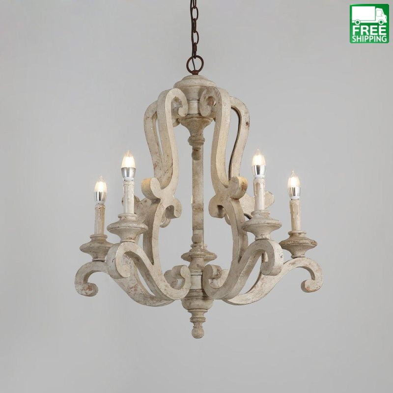 light candelabra chandeliers chandelier free country products shipping french distressed wood