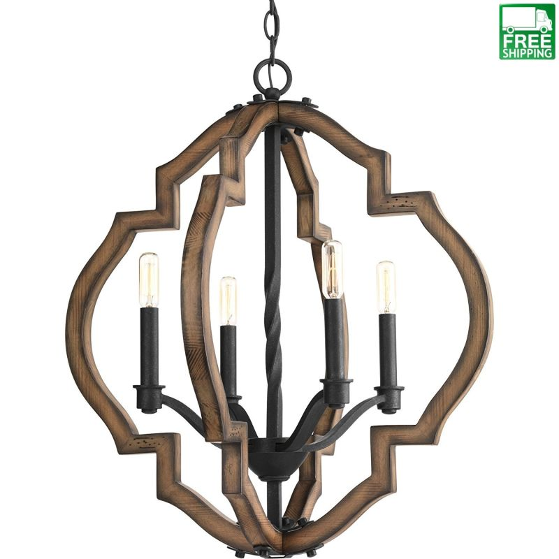 Gilded Iron and Spicewood Chandelier