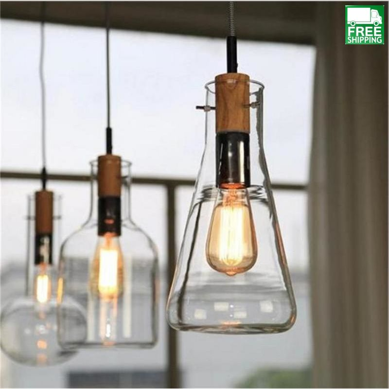 Glass Bottle Drop Pendant Light