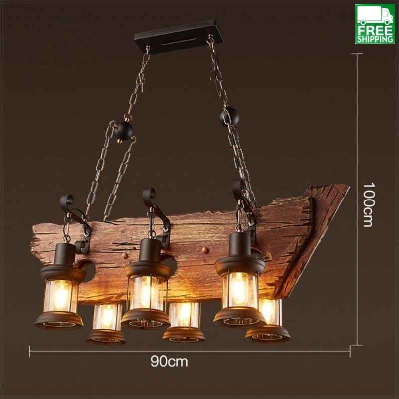 Wood Beam Six Hanging Bulb Chandelier Light