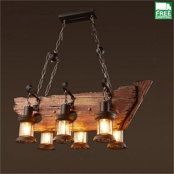industrial wood beam six hanging bulb chandelier light free