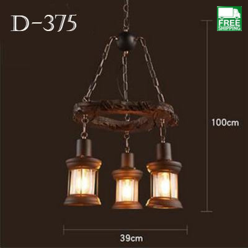 Mixed Industrial Retro Six Head Hanging Bulb Wood Chandelier