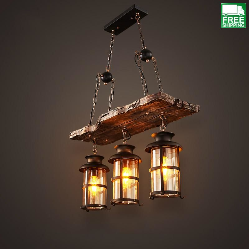 Mixed Industrial Retro Three Head Hanging Bulb Wood Chandelier