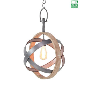Mixed Metal and Wood and Sphere Chandelier