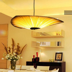 Oriental Wood Dramatic Inverted Chandelier