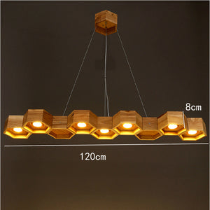 Wooden Honeycomb LED Hanging Chandeliers Handmade
