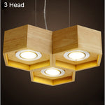 Wood Honeycomb Chandelier Light Fixture
