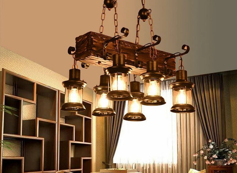 American Rural Wood Chandelier