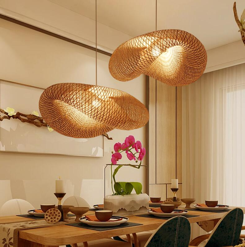Bamboo Wicker Rattan Wave Shade Pendant