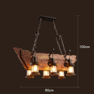 Industrial Wood Beam Six Hanging Bulb Chandelier Light