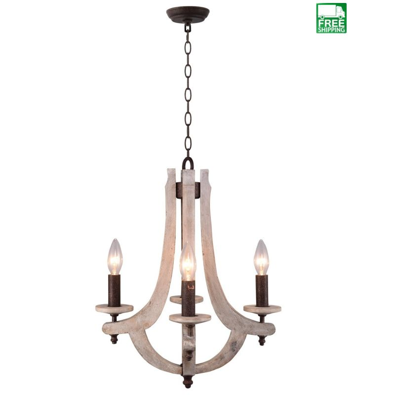 Retro Iron Wooden 4 Candle Holder Metal Chandelier