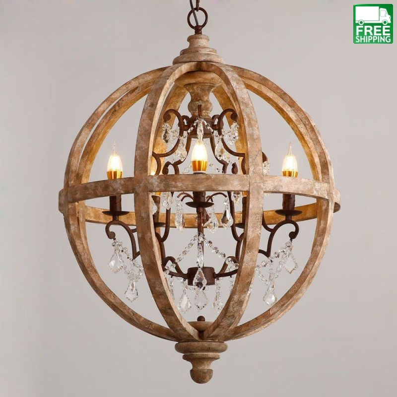 Retro Rustic Weathered Wooden Globe Chandelier