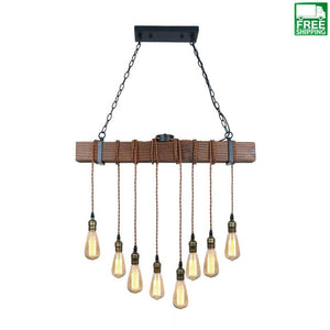 Rustic Black Wood Hanging Multi Pendant Light